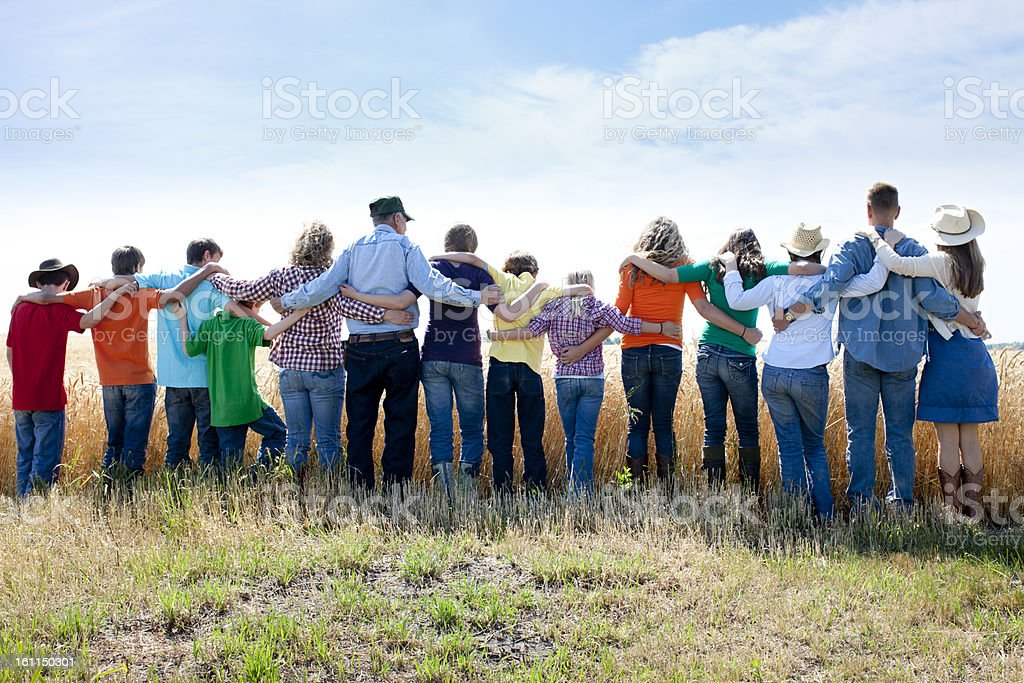 Christian Religious Family Group Prays to God Thankful Crop Farm stock photo