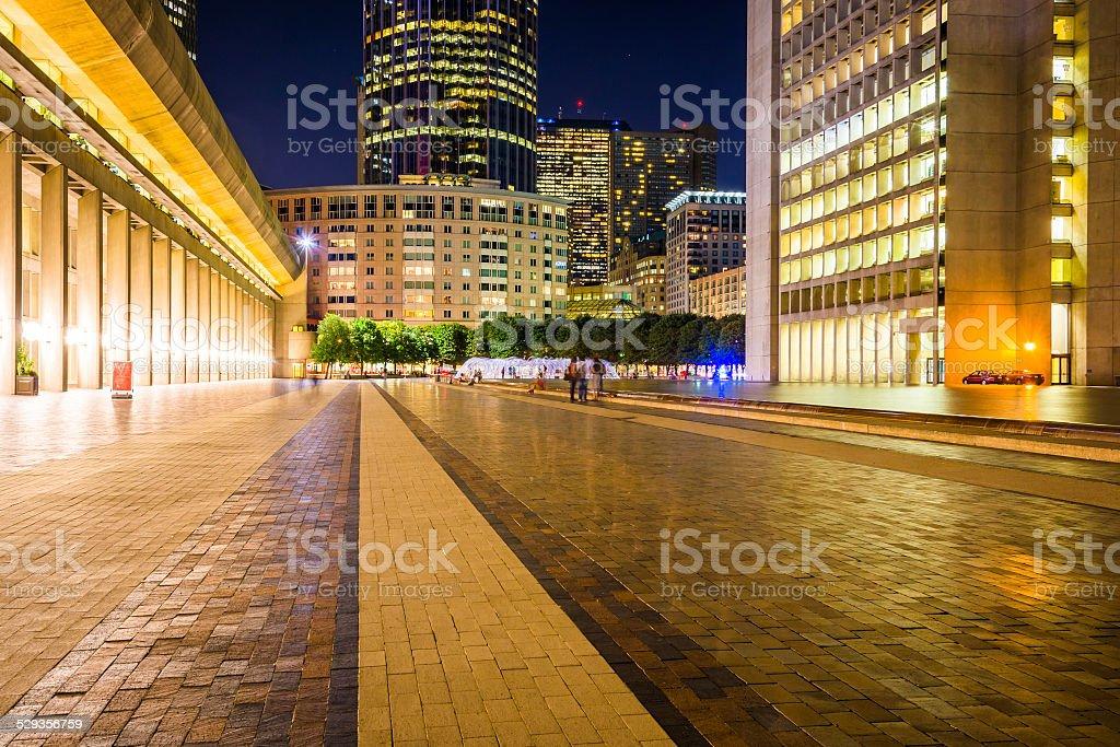 Christian Science Plaza at night, in Boston, Massachusetts. stock photo