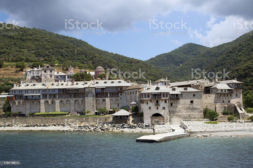 Christian shrine by the sea on Mount Athos royalty-free stock photo