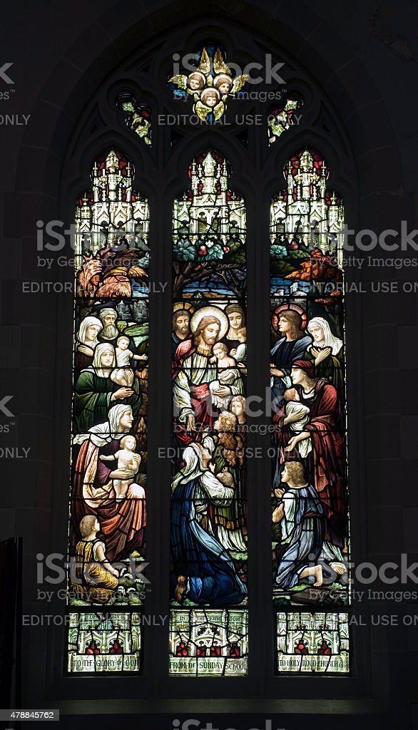 Christian stained glass stock photo