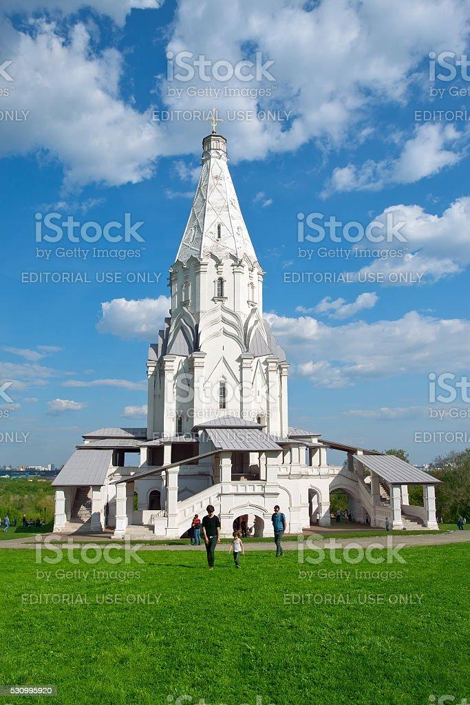 Christian temple in memorial estate 'Kolomenskoe' park. Moscow stock photo