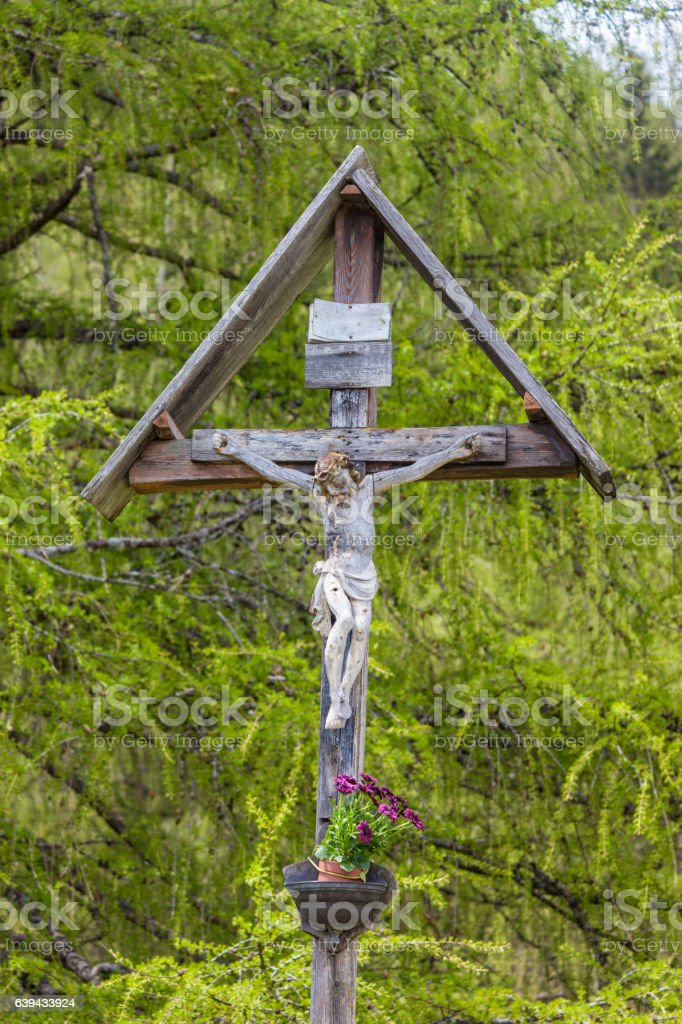 Christian wayside shrine in South Tyrol stock photo