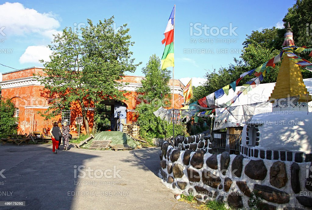 Christiania - self-proclaimed autonomous neighbourhood in Copenh stock photo