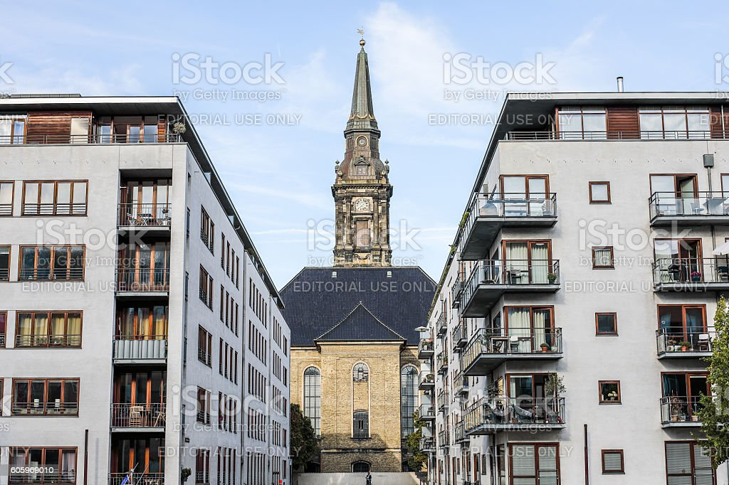 Christian's Church between modern apartment building, Copenhagen, Denmark stock photo