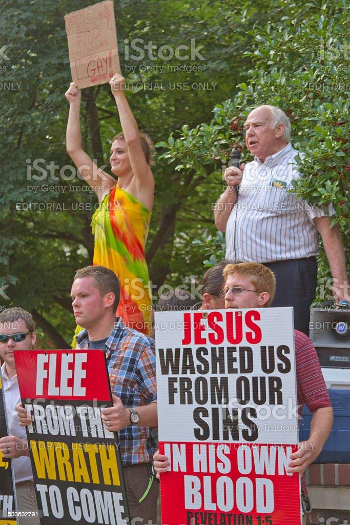 Christians vs Gays stock photo