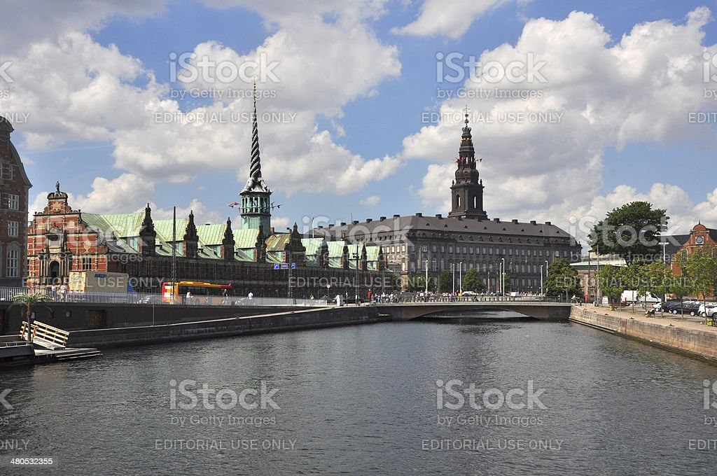 Christiansborg Castle and Borse, Copenhagen stock photo