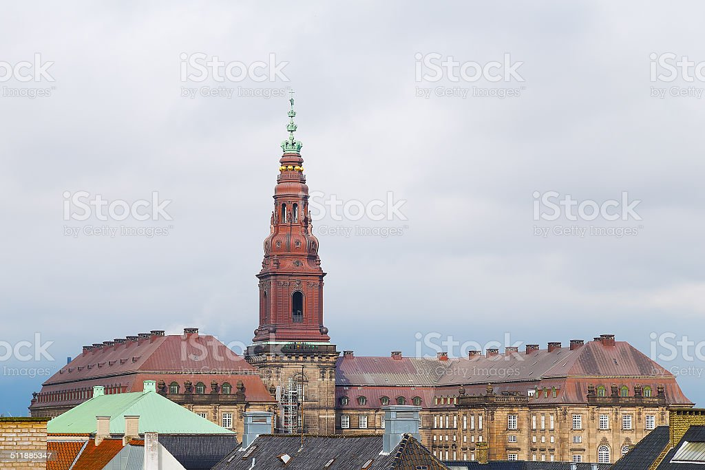 Christiansborg Castle in the central Copenhagen, Denmark stock photo