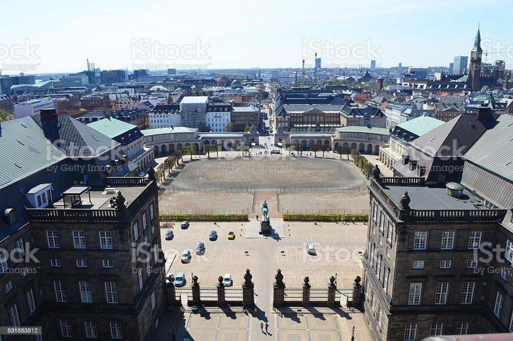 Palacio de Real de Christiansborg copenaghen panorama foto de stock libre de derechos