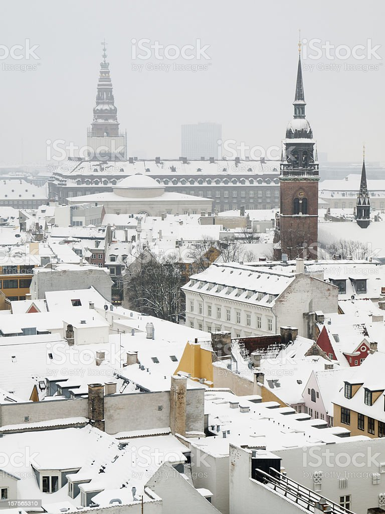 Christiansborg Palace viewed from Round Tower stock photo