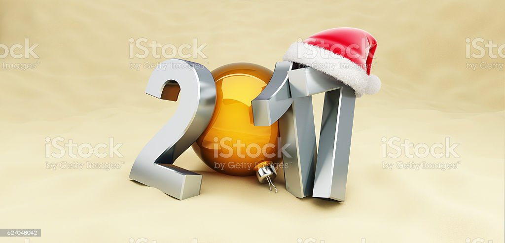 Christmas 2017 New Year holidays on the beach, 3D rendering stock photo