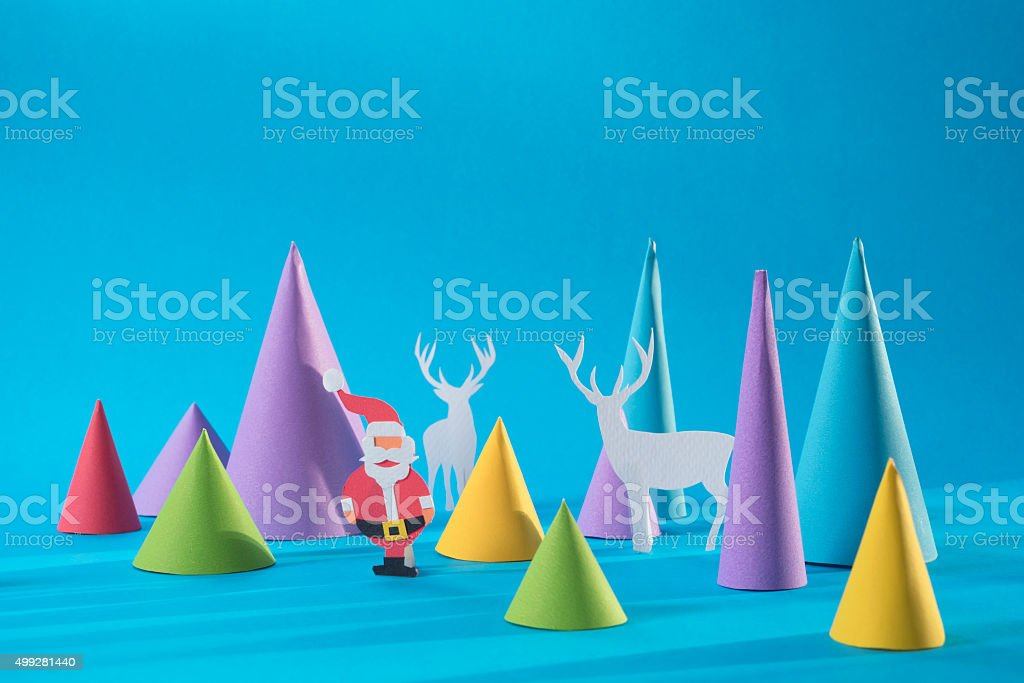 Christmas 3d paper cut handmade santa color card stock photo