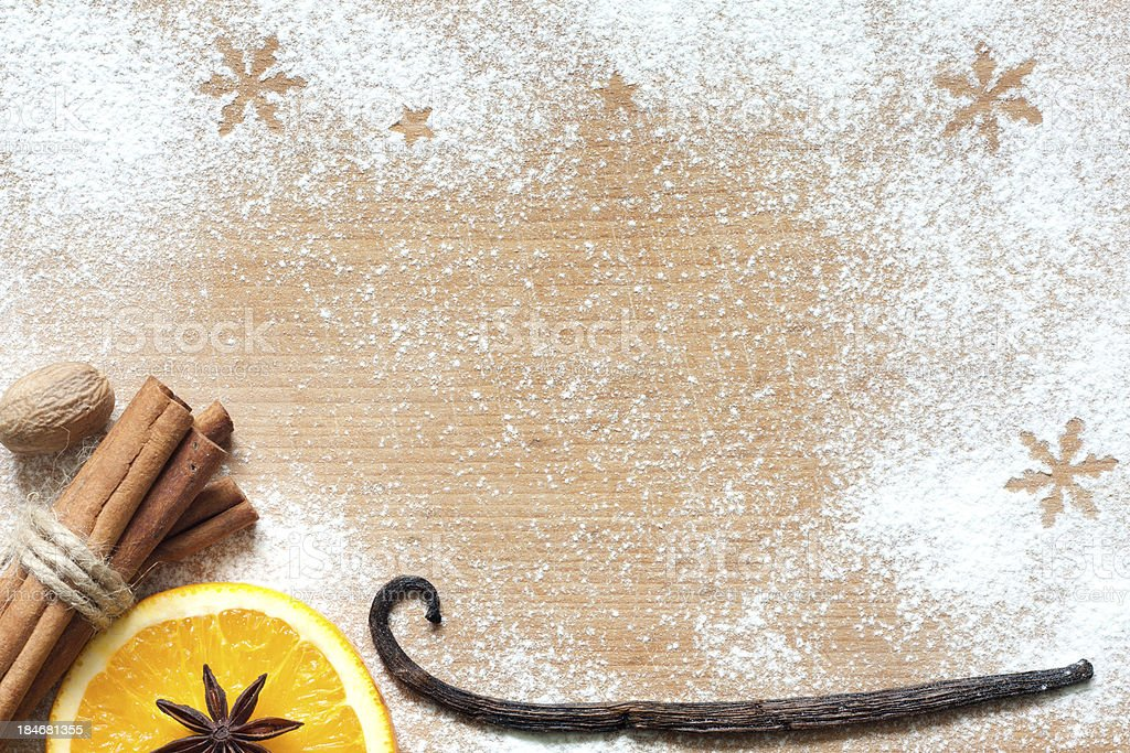 Christmas abstract food background on cutting board royalty-free stock photo