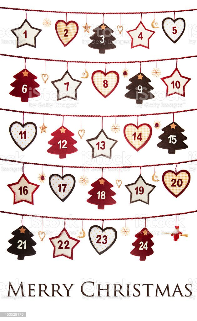 Christmas advent doodle calendar stock photo