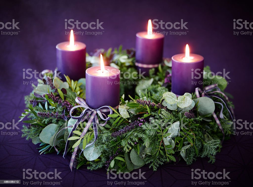 Christmas advent wreath stock photo