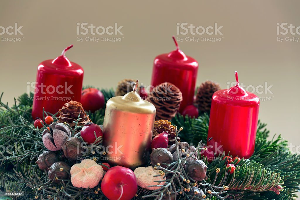 Christmas Advent wreath stock photo