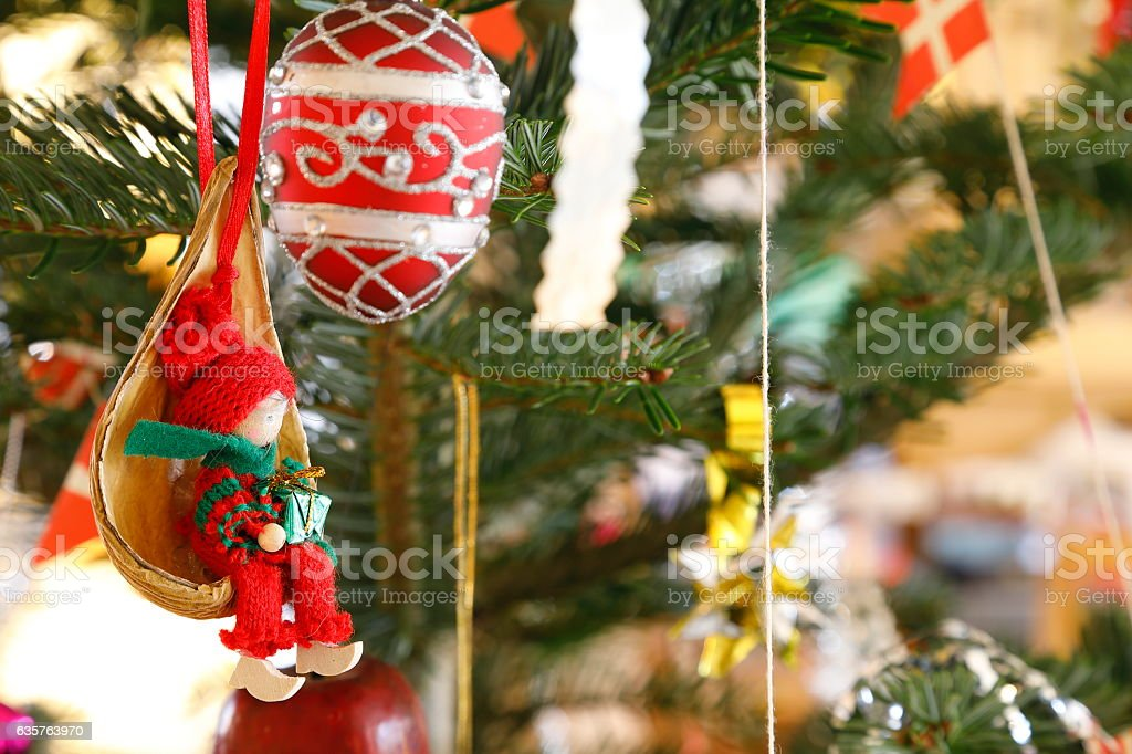 Christmas and a pixie on the tree stock photo
