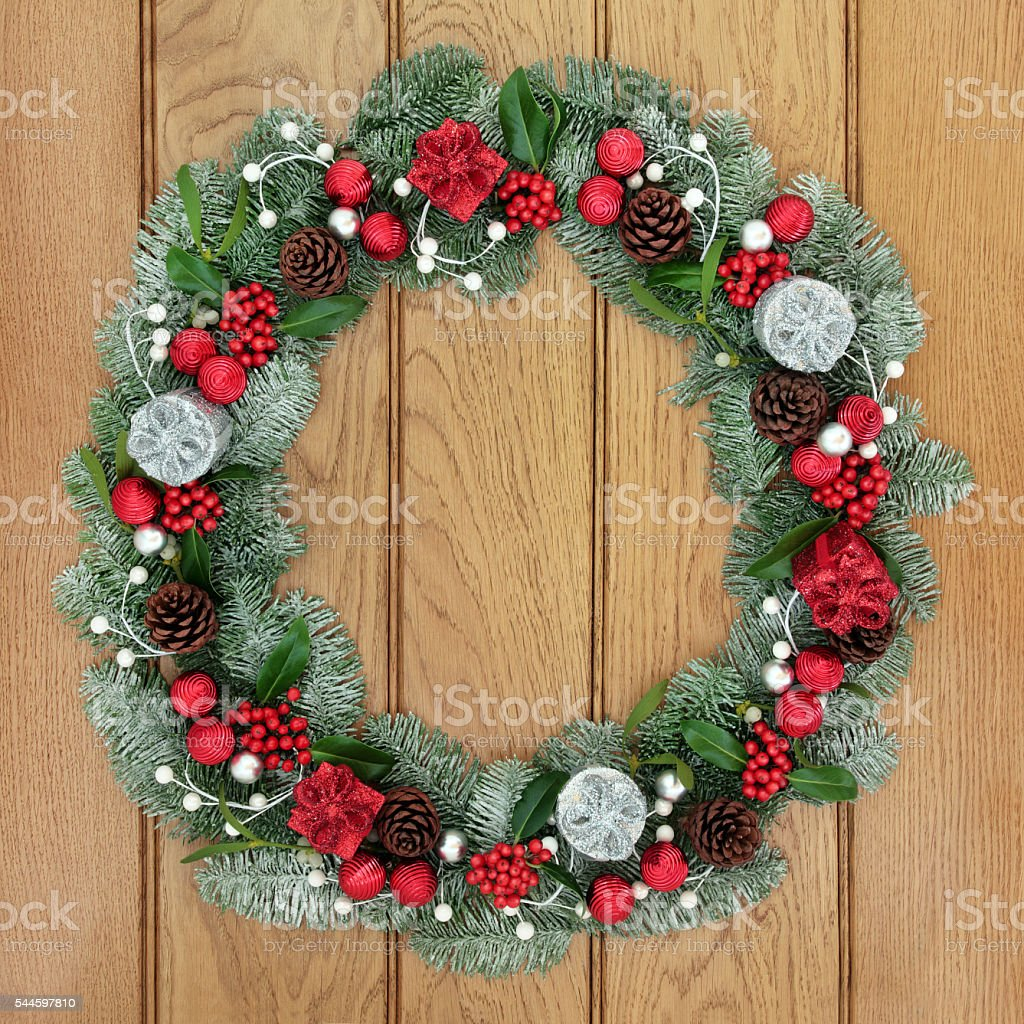 Christmas and Advent Wreath stock photo