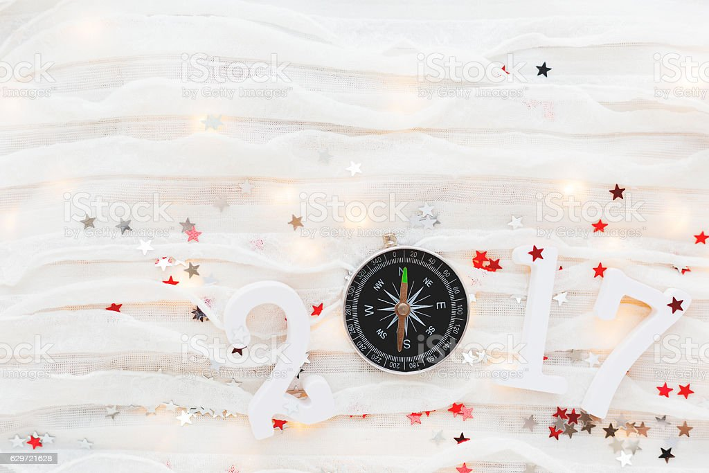 Christmas and New Year 2017 background. Travel symbol - compass stock photo
