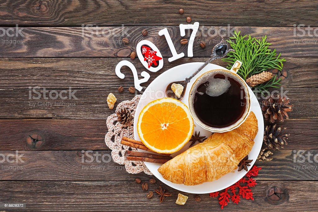 Christmas and New Year 2017 background with continental breakfast. stock photo