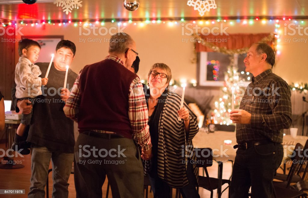 Christmas and New Year celebration Family stock photo