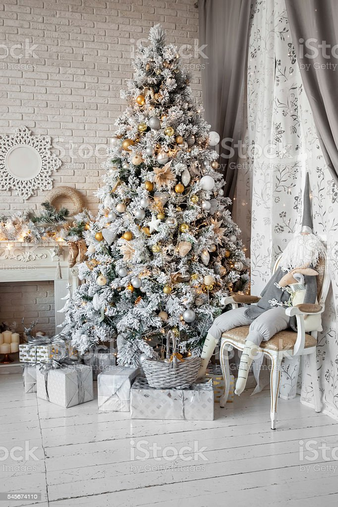Christmas and New Year decorated interior room stock photo