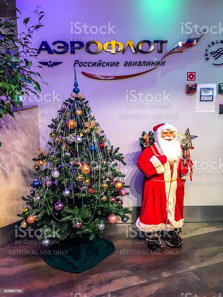 Christmas and New Year Decorations at Moscow Airport Sheremetyev stock photo