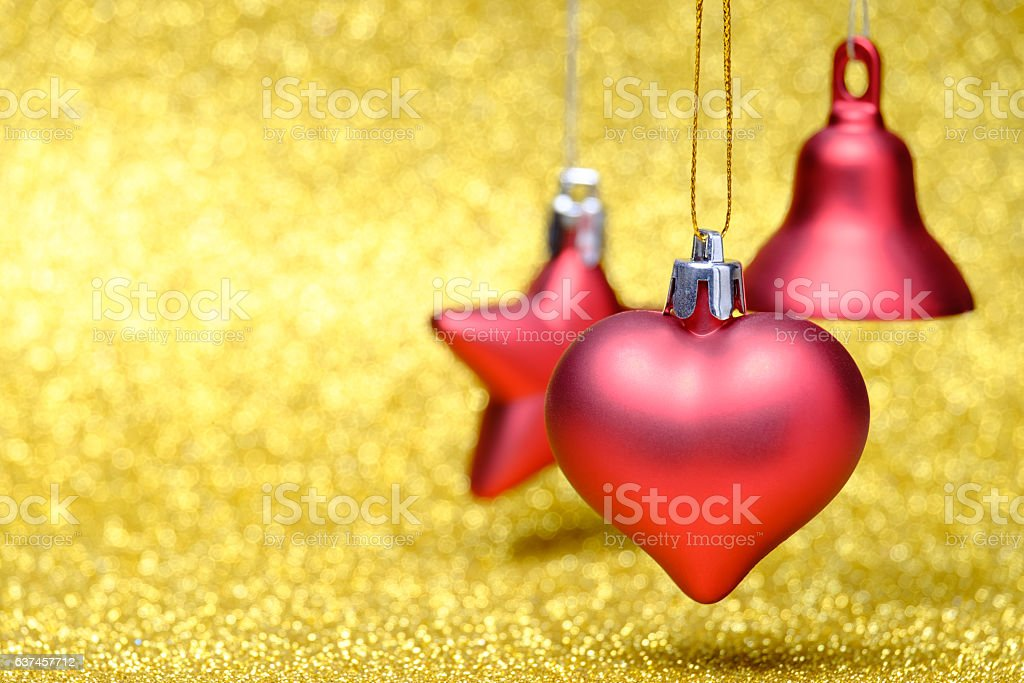 Christmas and New Year decorations on glitter background stock photo