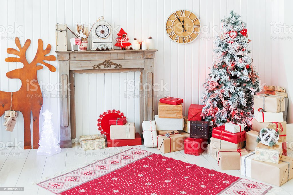 Christmas and New Year details of home interior stock photo