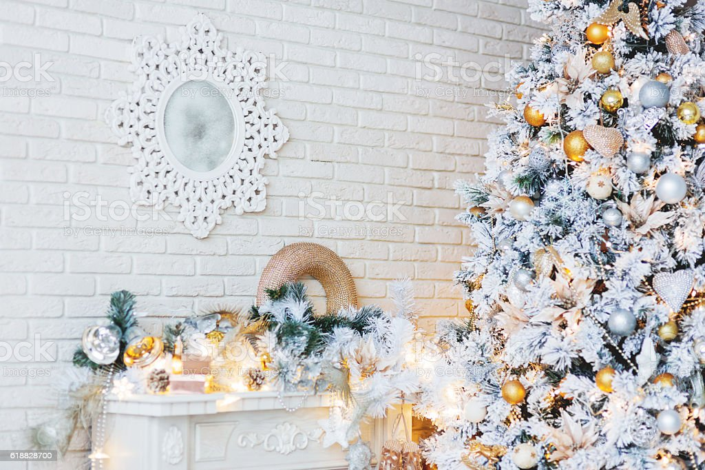 Christmas and New Year Eve Tree. Holiday winter background. stock photo