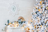 Christmas and New Year Eve Tree. Holiday winter background.