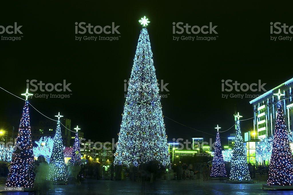 Christmas and New Year illumination stock photo