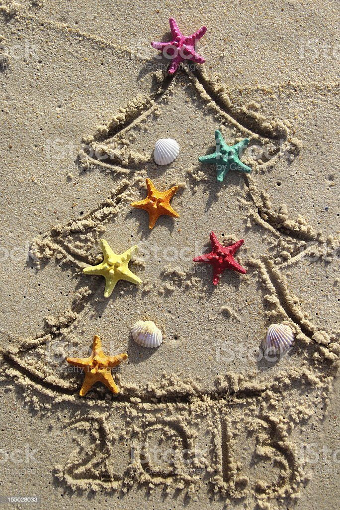 Christmas and New Year on the beach royalty-free stock photo