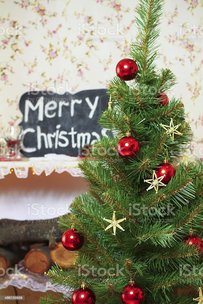 Christmas and New Year tree indoors royalty-free stock photo