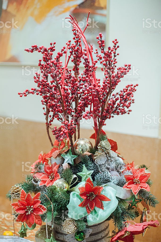 Christmas and New Year's  flowers composition. stock photo