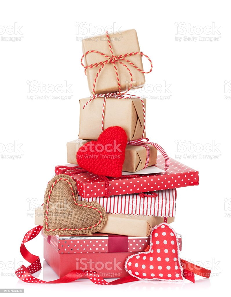 Christmas and Valentines day gift boxes stock photo