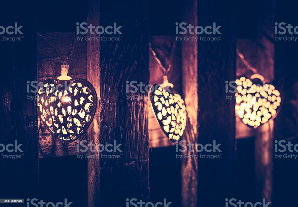 Christmas and Winter Lights, Vintage Effect stock photo