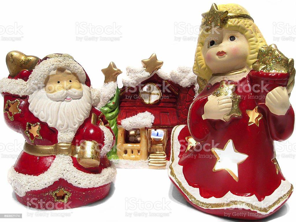 Christmas angel and Santa Claus royalty-free stock photo
