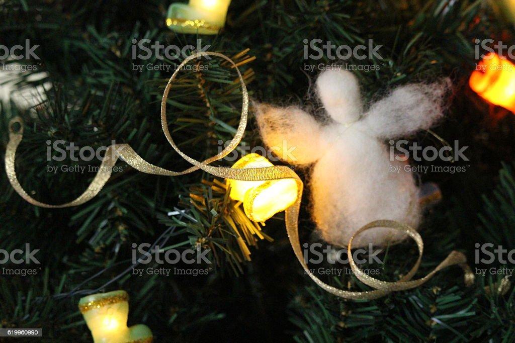 Christmas angel on the Christmas tree stock photo