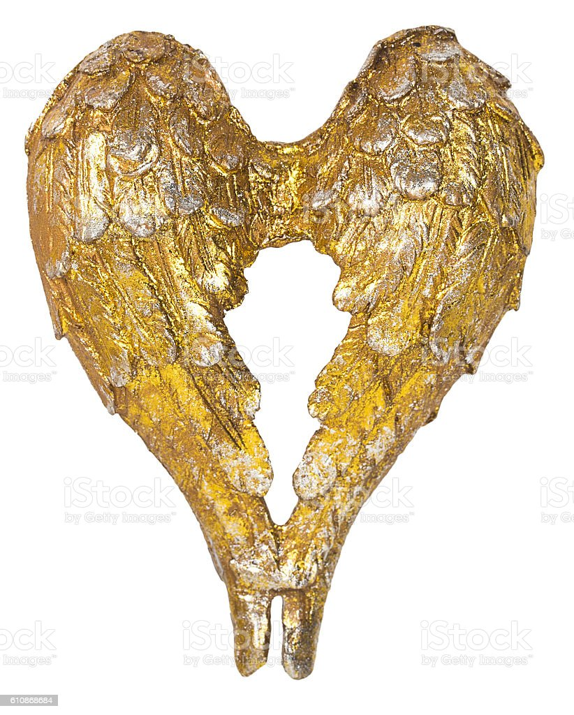 christmas angel wings gold decoration stock photo