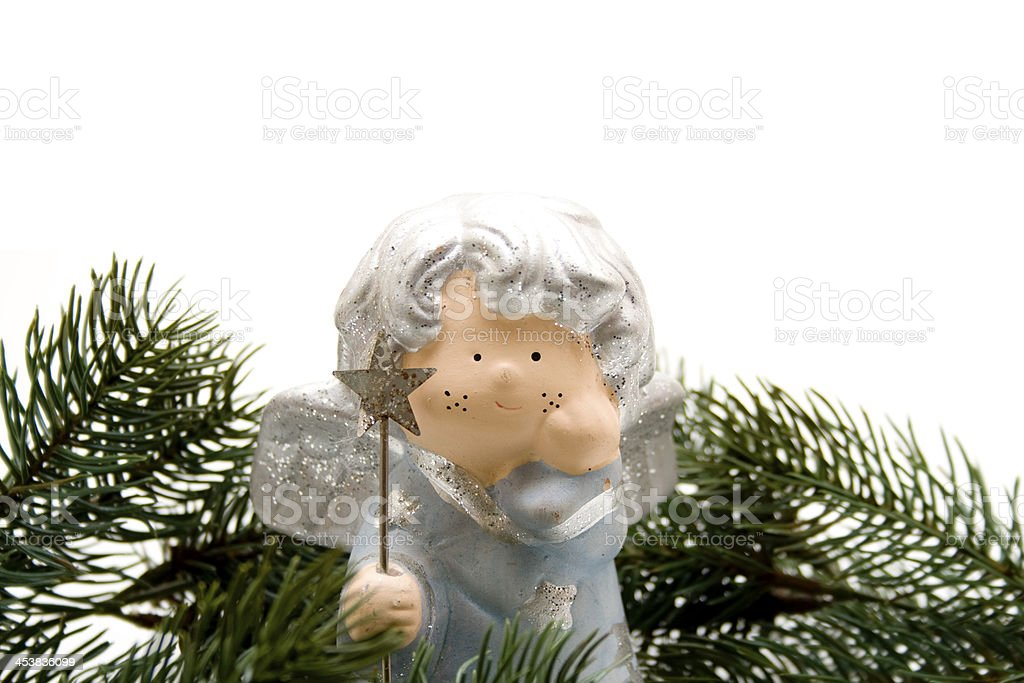 Christmas angel with fir branches stock photo