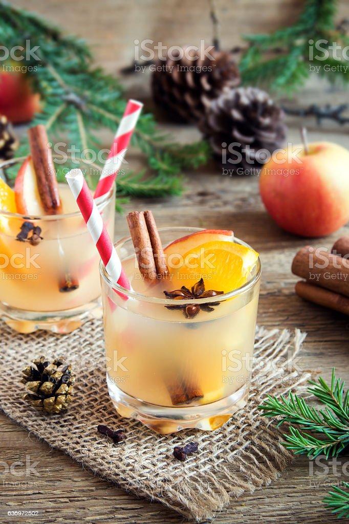 Christmas apple orange punch stock photo