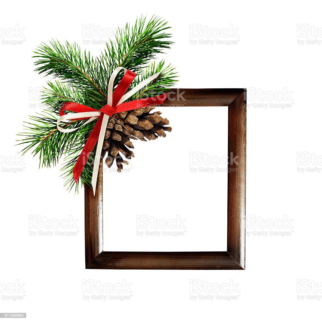 Christmas arrangement and a frame for photo or text stock photo