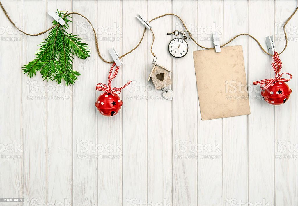 Christmas arrangement greeting card. Christmas tree branches stock photo