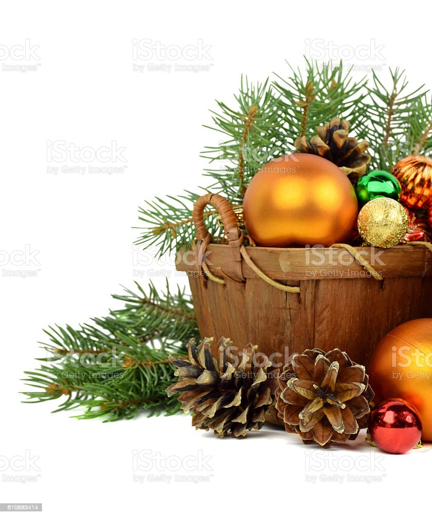 Christmas arrangement in a rustic style. Isolated. stock photo