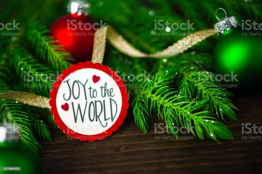 Christmas arrangement with baubles and Christmas tree branches stock photo