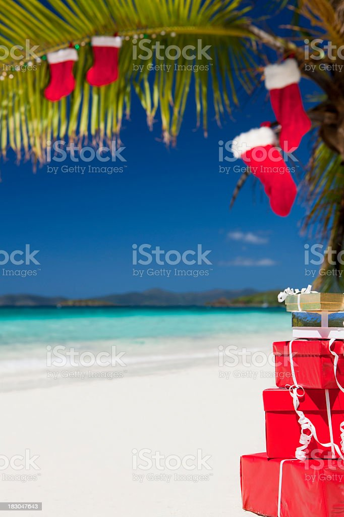 Christmas at a Caribbean beach stock photo