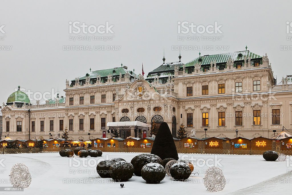 Christmas at Belvedere Palace, Vienna stock photo