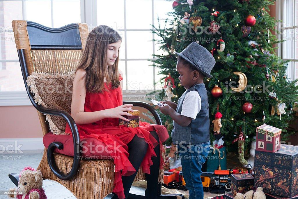 Christmas at home stock photo