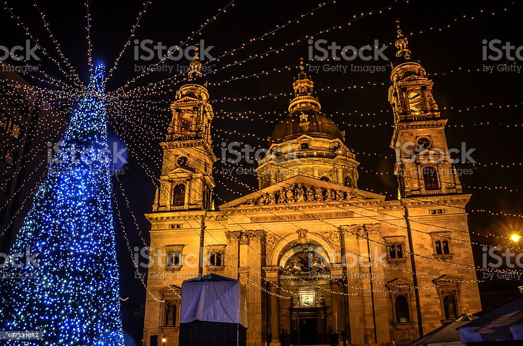 Christmas at St. Stephens Cathedral at Night - Budapest stock photo