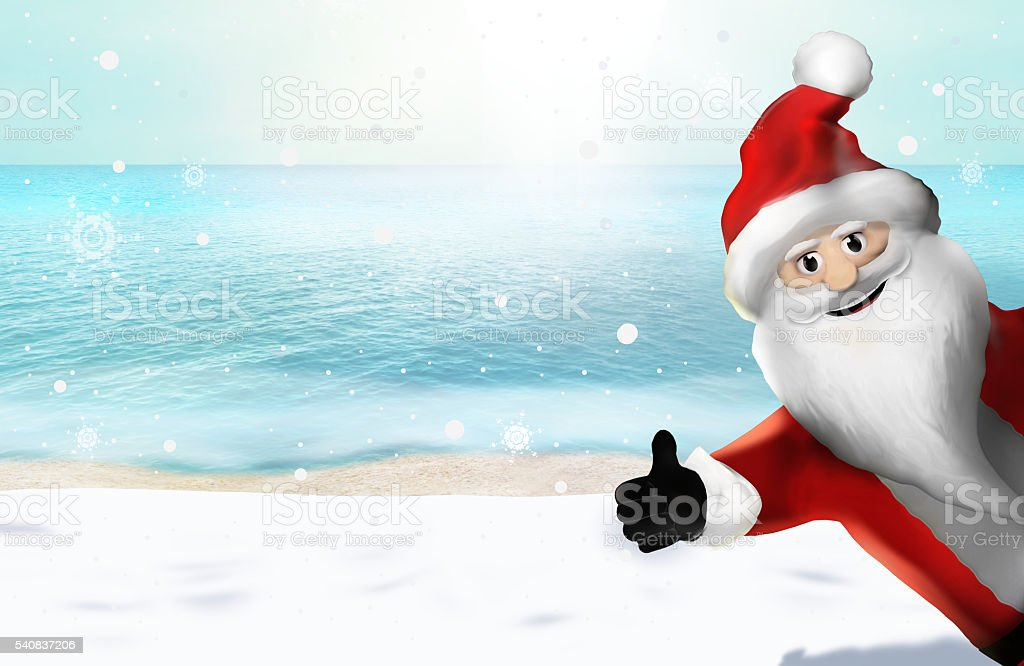 Christmas at the beach Santa Claus Thumbs Up 3D Render stock photo